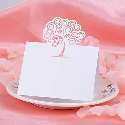 MEJOSER 50 Pz Cartellini Segnaposto Albero della Vita Segnatavolo Carta Perlata Bianco Avorio Motivo Traforato Laser per Matrimonio Comunione Battesimo Festa Compleanno