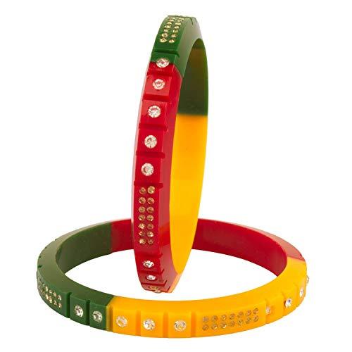 Efulgenz Fashion indisches Bollywood Multicolor Kristall Strass Acryl Harz Hochzeit Armband Armreif Set Schmuck 2 Stück