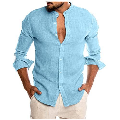 Sylar Camisas De Hombre Manga Larga Camisa Hombre Color Sólido con Cuello Mao Camisa De Vestir para Hombre Camiseta De Hombre con Botones Hombre Slim Fit Blusa Top