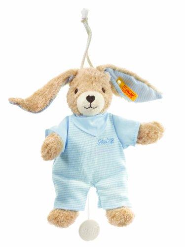 Steiff 237515 - Hoppel Hase Spieluhr, blau, 20 cm