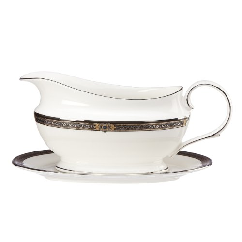 Lenox Vintage Jewel Gravy Boat and Stand, Sauce, White