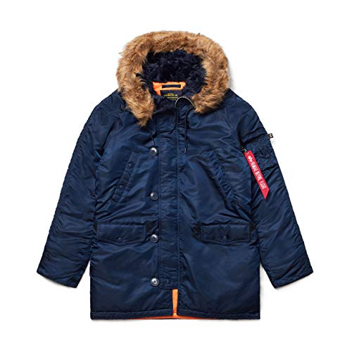 ALPHA INDUSTRIES N-3B Slim Fit Parka – kaltes Wetter Militär Issue Parka - Blau - X-Small