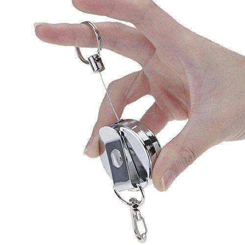 Kompassswc schlüsselhalter Jojo Schlüsselanhänger mit 65cm Ausziehbar Stahlseil Schlüsselring mit Karabiner in Silber Anti- Verloren (1 Stück)