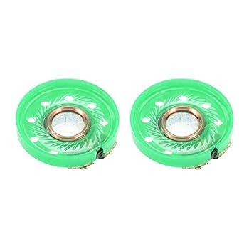 uxcell 0.25W 16 Ohm Mini DIY Magnetic Audio Speaker Loudspeaker 20mm Round Shape Green 2pcs