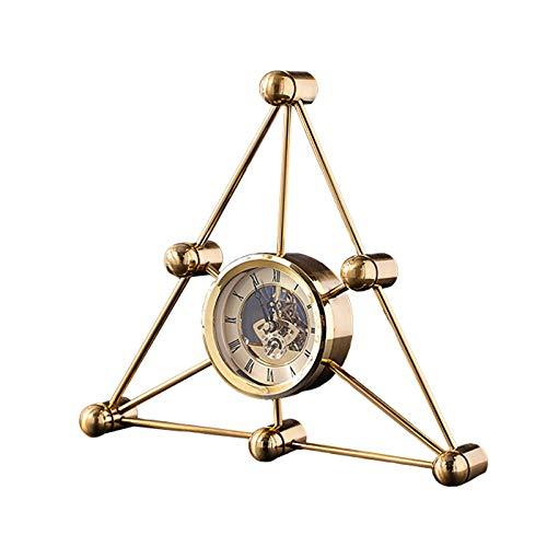 Elegante Reloj de Mesa Decoración de reloj de escritorio de metal creativo Simple Triángulo Mantel Reloj TV Armario Decoración Número Romano Reloj de mesa 11 pulgadas Reloj de Escritorio
