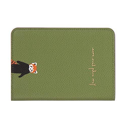 Portatarjetas de crédito Duradero fácil de Usar 14 * 10 cm / 5.51 * 3.94in para Tarjetas de Pasaporte(Panda Rojo Verde)
