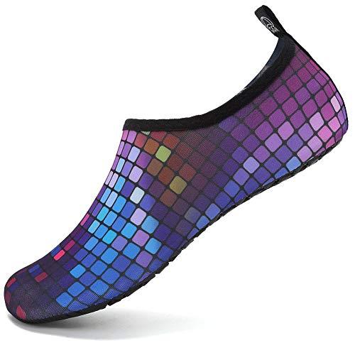 VIFUUR Zapatos de Agua Hombres Mujeres niños Aqua Yoga Descalzos de Secado rápido Slip-en los Calcetines Plaza Colorido EU36/37