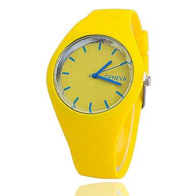 Schöne Uhren, Herren / Damen / Unisex Modeuhr Quartz Silikon Band Schwarz / Weiß / Blau / Rot / Orange / Braun / Grün / Rosa / Lila / Gelb / Rose Marke- ( Farbe : Gelb , Großauswahl : Einheitsgröße )