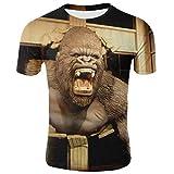 T-Shirt con Stampa 3D,novità Funky Punk Gorilla Graphic caffè T-Shirt Ad Asciugatura Rapida Casual Girocollo Traspirante Camicetta Manica Corta Top per Uomo Donna Festa di Compleanno Giovanile, XX