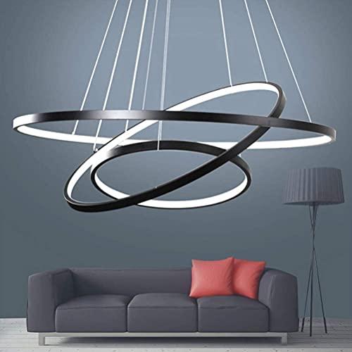 Lámpara de techo LED regulable de altura regulable, lámpara de mesa de comedor, cocina, comedor, salón, con mando a distancia, color de luz/brillo ajustable, redonda, 3 anillos