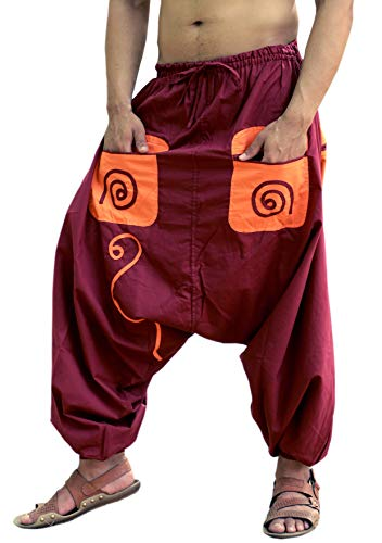 Sarjana Handicrafts Men's Cotton Pockets Harem Yoga Baggy Genie Hippie Pants (Free Size, Maroon)