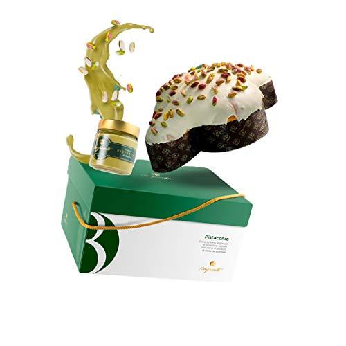 Colomba Artigianale al Pistacchio, lievitazione Naturale, 1 kg - con vasetto di Crema al Pistacchio di Bronte, 220g