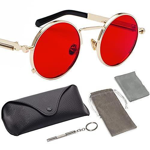 1 par de gafas de sol retro unisex estilo punk metal multicolor lentes clásicas gafas de sol ideales para deportes al aire libre Golf Ciclismo Pesca senderismo