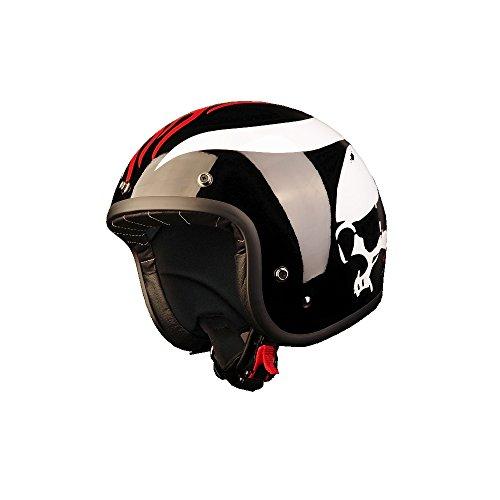 Casque moto Custom Jet « Black Racer » noir, en fibre, homologué ECE 22.05 E3 (XS - 54 cm)