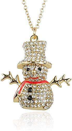 OlovdHit Halskette Damen Halskette Weihnachten Serie Perle Voller Diamanten Hut Schneemann Schlüsselbein Kette Senden Freundin Geschenk Ornament