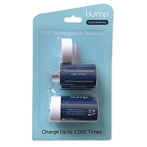 Bump D USB Rechargeable Polymer Lithium Battery | 3800 mAh Capacity, Durable, Fast Charge - 2/Pack