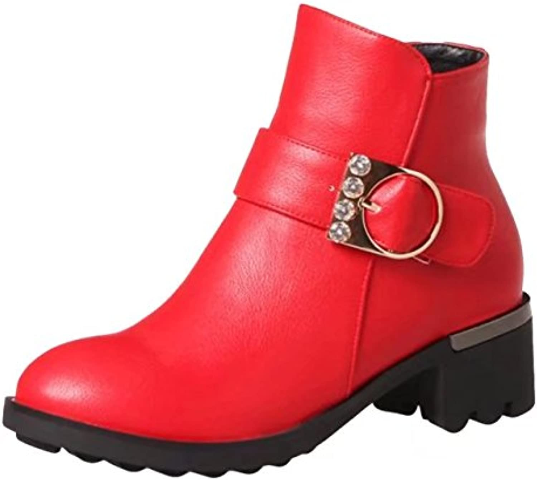 AIYOUMEI Women's Block Heel Zipper Autumn Winter Rhinestones Ankle Boots with Buckle Black