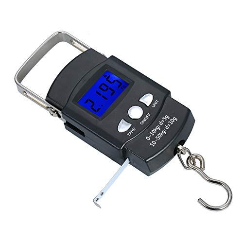 Taschenwaage Von hinten beleuchteter LCD-Bildschirm Waage Tragbare elektronische Waage Digitaler Angelhaken Hängewaage Anglerwaage mit Maßband Lineal Mini-Gepäckwaage für die Fischerei in der