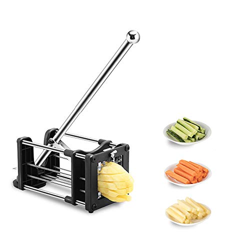French Fry Cutter for Air Fryer, Reliatronic Stainless Steel Potato Chipper with Extended Handle, 2 Different Size Super Sharp Blades,...
