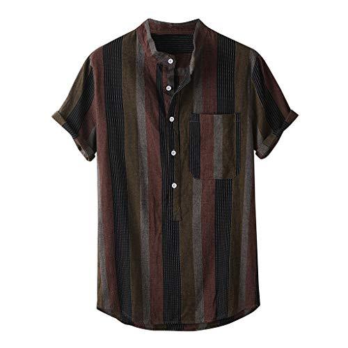 Yowablo Shirt Top Herren Sommermode Stehkragen Streifendruck Kurzarm (XL,30Schwarz)