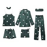 CTMD Juego de 7 Piezas Traje de Pijama de Seda Hielo Estampado Lindo para Mujer, Ropa de Dormir Cómoda y Suave para Primavera Verano Otoño Invierno Fiesta, Inicio