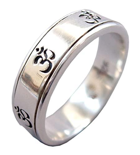 Energy Stone Seven Om Narrow Band Sterling Silver Meditation Spinner Ring (Style UK39) (R...