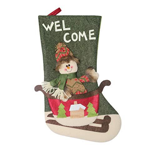 PRETYZOOM Nonwovens - Medias navideñas con colgante de Papá Noel para decoración del hogar, estilo muñeco de nieve