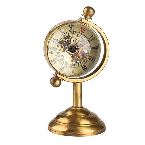 XVCHQIN Spinning Globe Reloj de Escritorio Dorado para Hombres Relojes creativos Decoración del hogar para Mujeres Reloj de Mesa de Cobre Movimiento de Cuerda Manual, Bronce