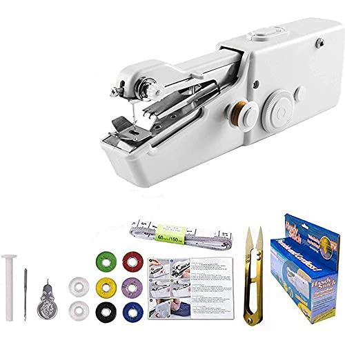 Meichoon Máquina de Coser para Principiantes,Mini Kit de Herramientas de Costura Eléctrica Portátil Inalámbrico de Punto Rápido,Juego Multifunción para Ropa o Tela niños,Uso de Viaje,UE21 Blanco
