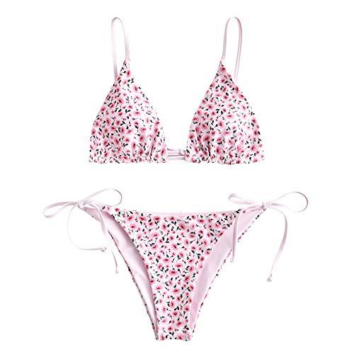 ZAFUL Damen Gepolstert Bikini Set, Reversible Blumenmuster Bikini Badeanzug mit Dreieck Cup Spaghetti-Träger (Rosa, M)