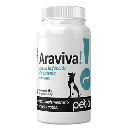 petia Vet health ARAVIVA! Complemento Nutricional para Optimizar la Función del Sistema Inmune. para Perros y Gatos.