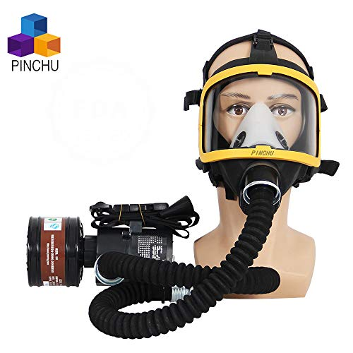 ZYC Electric Constant Flow Supplied Air Fed Full Face Respirator Gas Mask Blower/Breathing Tube/Charger/Filter/Belt Combined Gas Mas