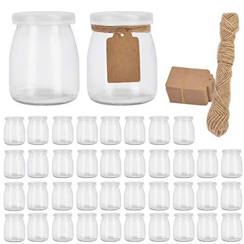 Glass Jars, Betrome 7 oz Pudding Yogurt Jars for Milk, Jam,Mousse,Wedding Favors, Shower Favors, Baby Foods(40 Pack)