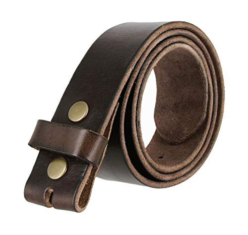 BS-40 100% Full Grain Leather Replacement Belt Strap with Snaps 1 1/2' wide (Brown, 36)