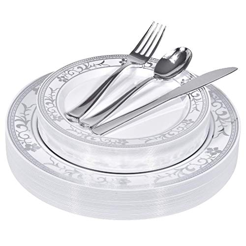 Silver Floral Rim Plastic Dinnerware (125-Piece) Plastic Plates, Plastic Forks, Plastic Knives, Plastic Spoons - Service for 25 Guests Place Setting for Wedding, Party, Baby Shower, Birthday, Holiday