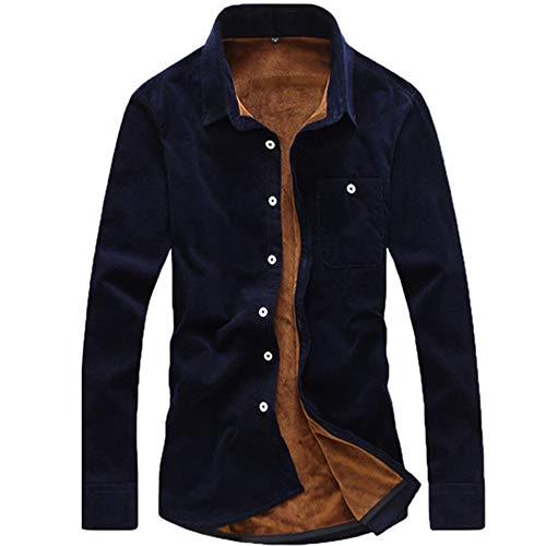 Doufan Winter Heren Shirts Mode Boutique Katoen Effen Kleur Plus Cashmere Warm Dikke Casual Lang-Sleeved Slanke Fluwelen Corduroy Shirts