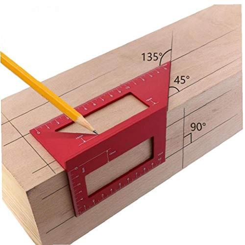 LAVALINK Roter Platz Winkel Lineal Aluminiumlegierung Aluminiumlegierung Holzverarbeitung Scribe Pen T-förmigen Lineal Multifunktions 45/90 Grad-Winkel-Lineal