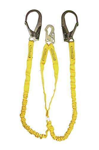 Guardian Fall Protection 11203 IS-72-2R 6-Foot Double Leg Internal Shock Lanyard with Rebar Hook