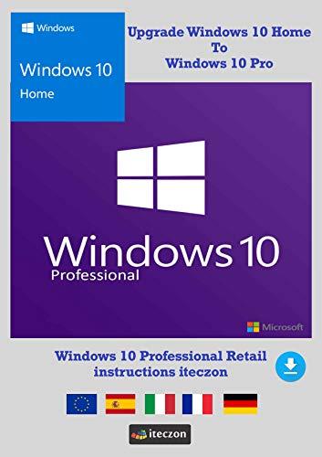 Windows 10 Home upgrade Windows 10 Pro Version complète francais Clé de licence originale par email + Instructions de iTeczon®