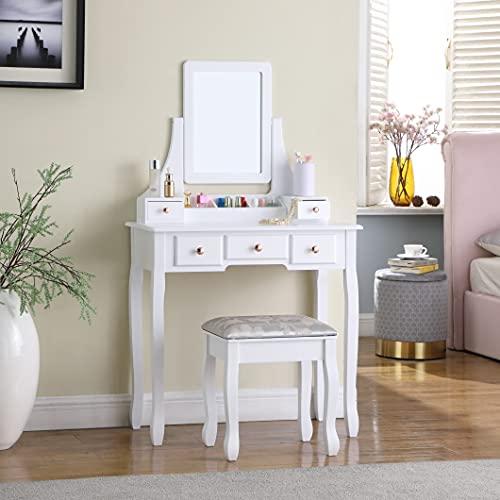 Moderno tavolo da toeletta in legno con specchio a 5 cassetti estraibile, sgabello in legno per camera da letto, spogliatoio, scrivania per trucchi, colore: bianco, bianco