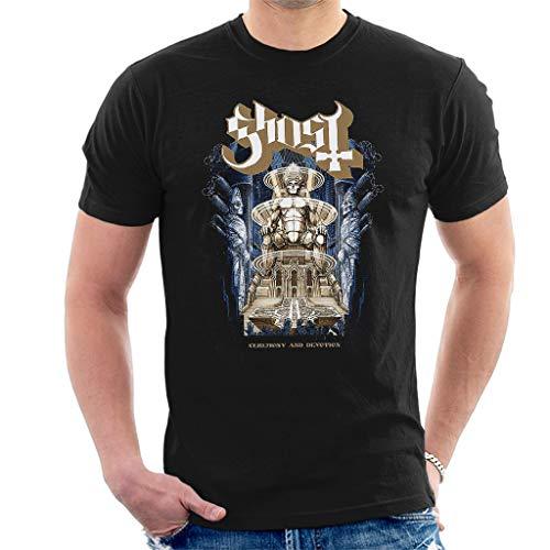 Ghost Ceremony & Devotion Manga Corta De Los Hombres Camiseta Negro Medium
