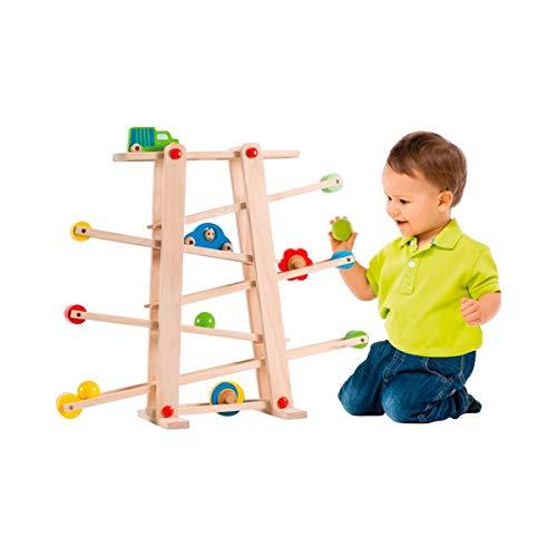 solini Kugelbahn Rollbahn - Kinder-Spielzeug aus Holz mit Autos, Scheiben & Kugeln in leuchtenden Farben - Motorik-Holzspielzeug - bunt