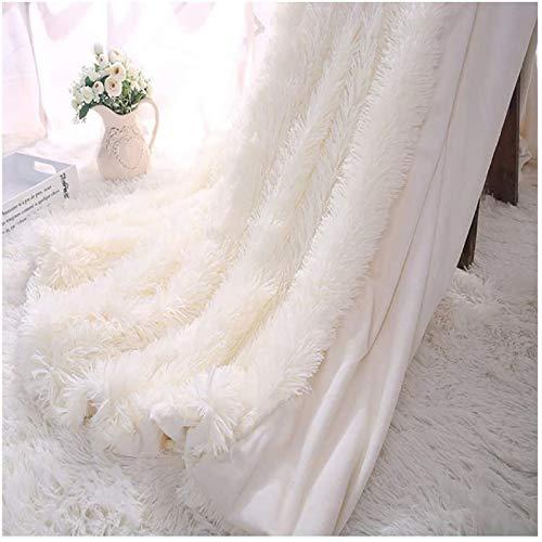 Kaihong, coperta in microfibra e pelliccia sintetica, leggera, soffice, per divano o letto, 130 x 160 cm, colore: bianco, Poliestere, bianco, 160 x 200 cm,bianco crema