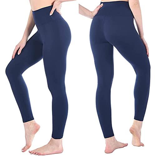 Leggins Mujer de Color Sólido Mallas de Yoga de Cintura Alta Pantalones Deportivos Push Up Pantalón de Deporte Transpirables Elásticos Leggings Suave y Cómodo Correr Gym Fitness