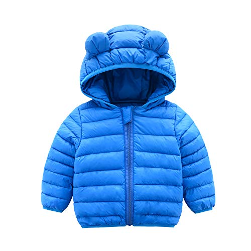 CECORC Winter Coats for Kids with Hoods (Padded) Light Puffer Jacket for Outdoor Warmth, Travel, Snow Play | Little Girls, Little Boys | Baby, Toddlers, 4T, Blue