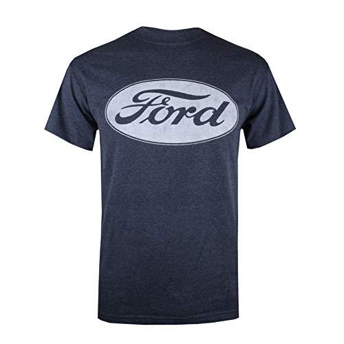 Ford Herren Logo T-Shirt, Blau (Heather Navy Hny), X-Large