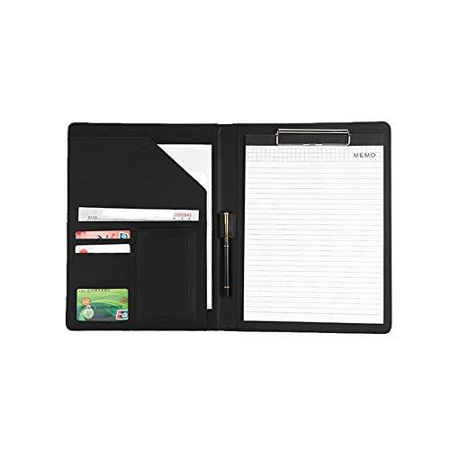 MOPOIN Cartella per conferenze, formato A4, in pelle di alta qualità, con portapenne e porta tessere, per riunioni di lavoro, ufficio, scuola, colore: nero