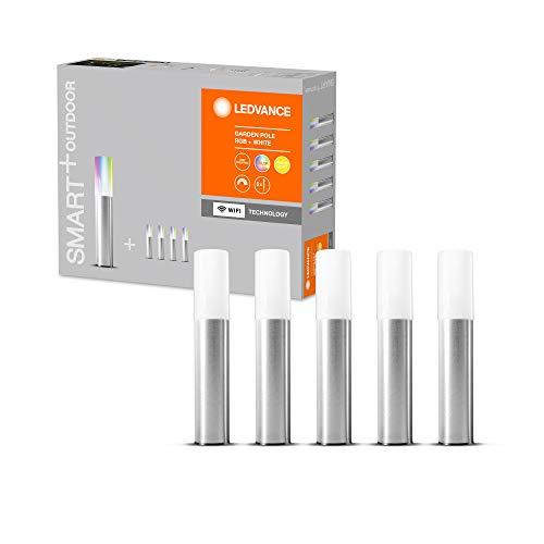 LEDVANCE Smarte LED Gartenleuchte mit WiFi Technologie, Basispaket mit 5 LED Garten Poles für Außen, RGB-Farben änderbar, Kompatibel mit Google und Alexa Voice Control, SMART+ WIFI GARDEN POLE