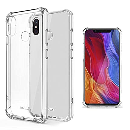 Moozy Funda Silicona Antigolpes para Xiaomi Mi 8 - Transparente Crystal Clear TPU Case Cover Flexible