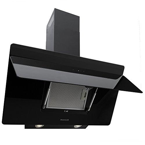 Arebos Dunstabzugshaube / 90 cm/Schwarz/Glasfront/Mit LED-Beleuchtung/Umluft / 610 m³/h/Energieklasse B